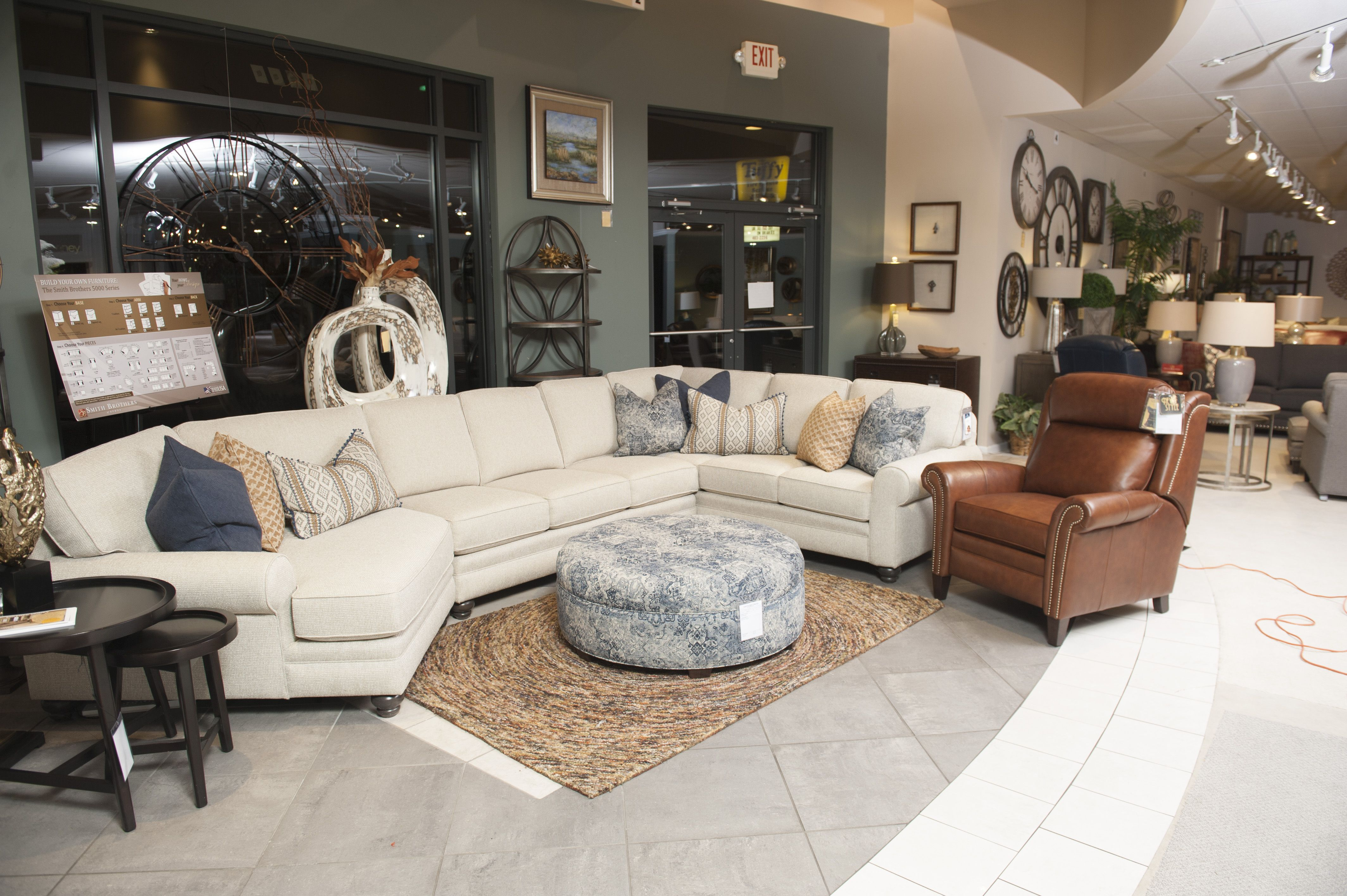 Smith Brothers Of Berne 5251 Sectional 979 Ottoman 730 Recliner