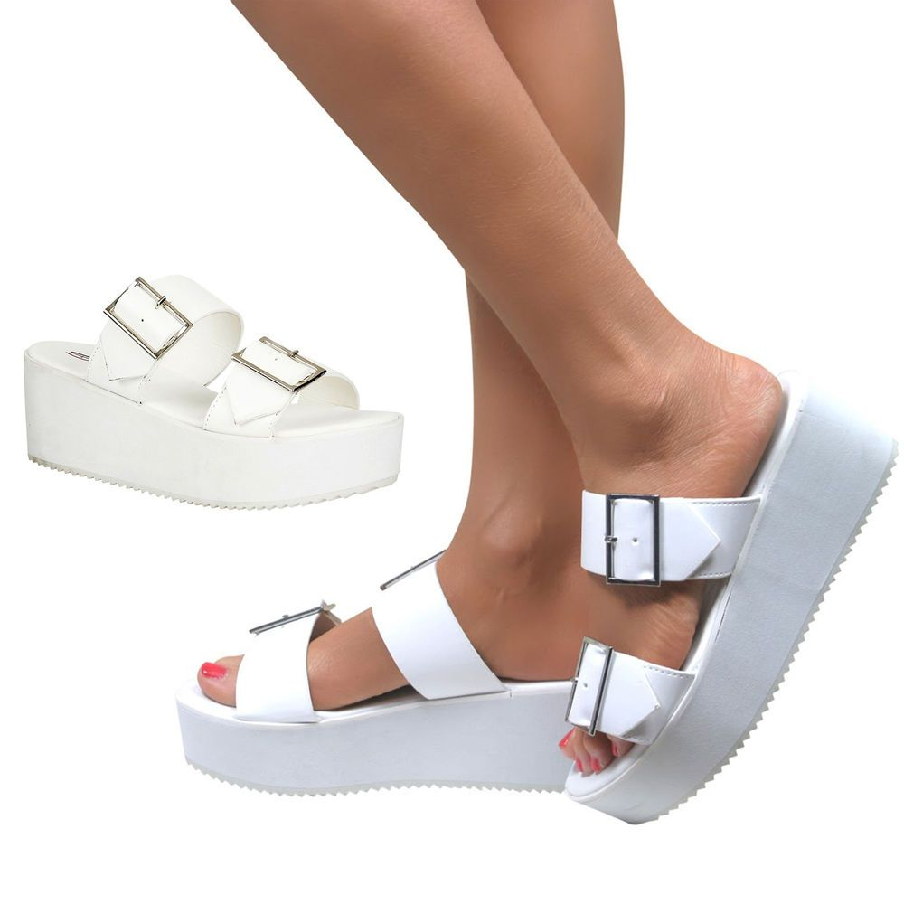 47916f55d752 Womens White Chunky Sole Flatform Sandals Wedges Platform Shoes Size in  Clothes