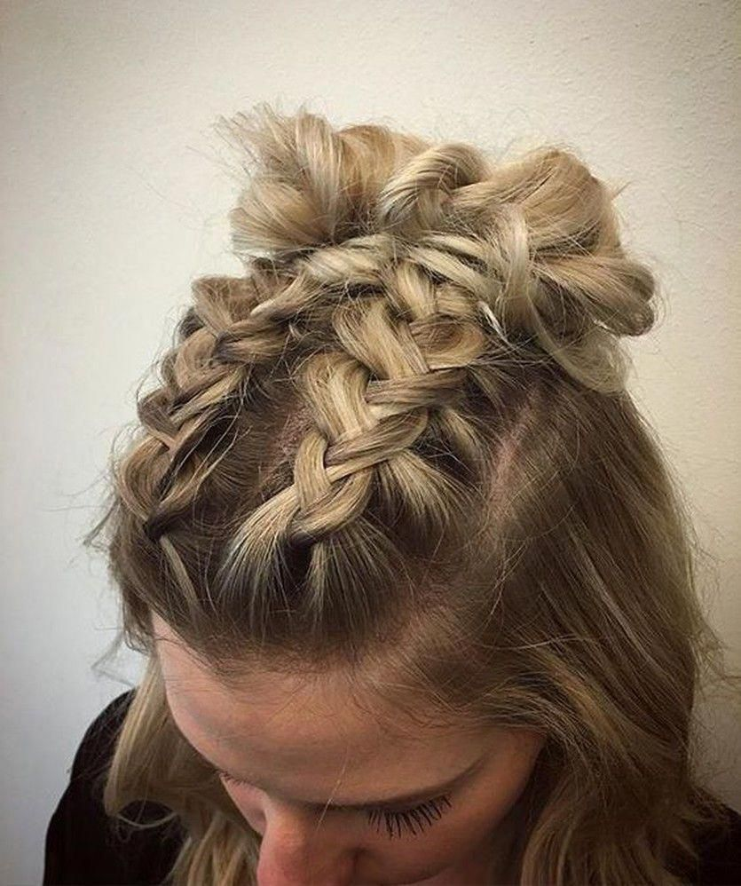 See All 27 Variations Double Mohawk Dutch Braid Into Top Knots High Space Buns Half Updos B Braids For Short Hair Short Hair Styles Braided Hairstyles