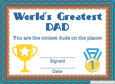 Greatest dad certificate template free to customize download certificate maker yadclub Gallery