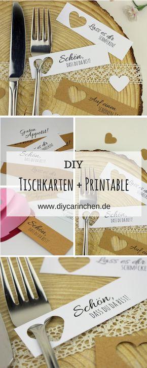 DIY Tischkarten einfach selber machen + kostenlose Vorlagen - Hochzeit #diyundselbermachen