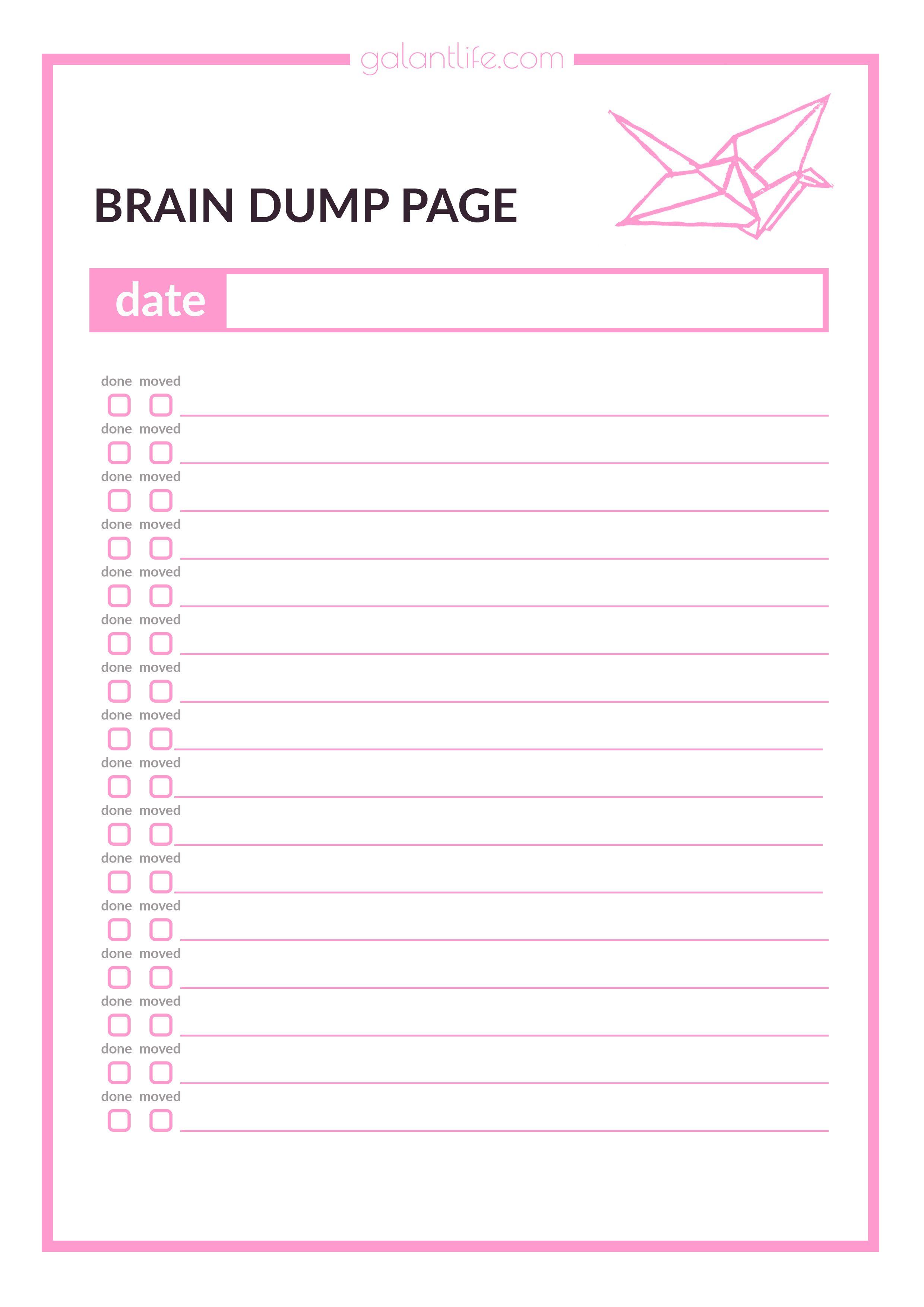 Declarative image throughout brain dump worksheet