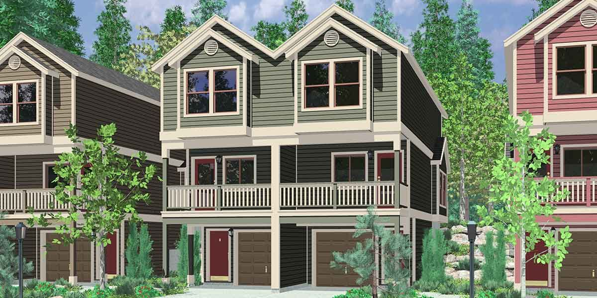 Duplex house plans three story narrow duplex design w for Duplex townhouse designs