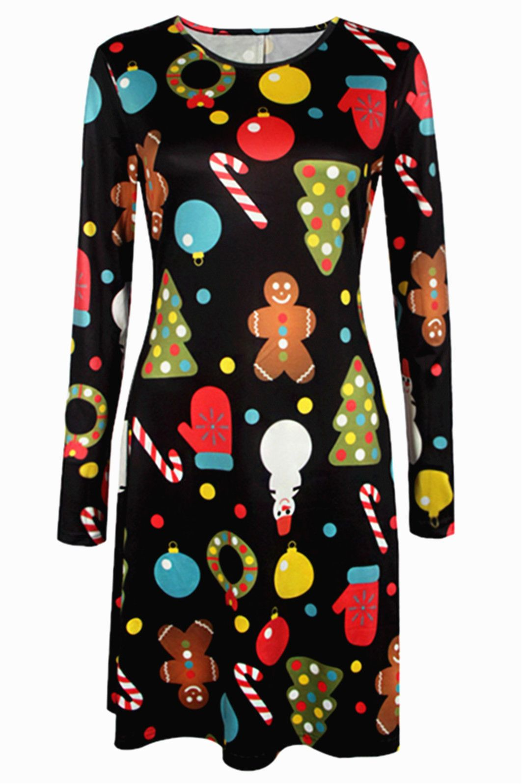 91e9ce0180b8a  12.67 Knee Length Christmas Patterned Dress. 2019 Autumn Winter Christmas  Dress Women Plus Size Print Dress Midi Elkrricdress Christmas Print Dresses