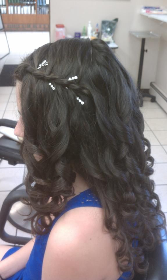 prom waterfall braid with curls | Braids with curls ...