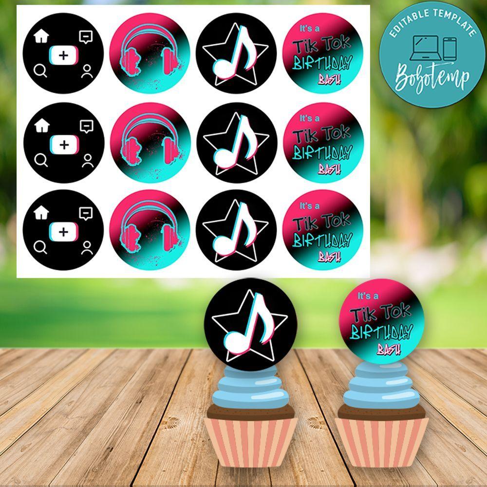 Tiktok Birthday Cupcake Topper Digital File Printable Diy Bobotemp Cupcake Toppers Printable Diy Printables Cupcake Toppers Free