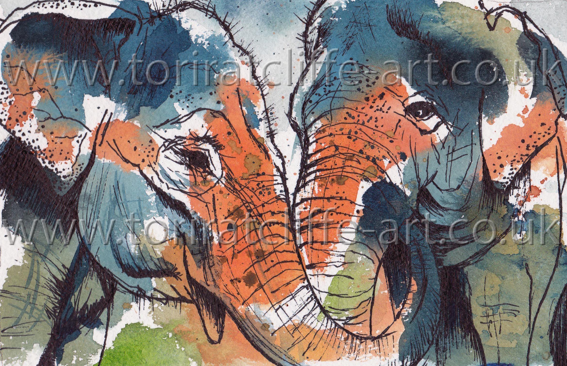 Artwork : Asian Elephants watercolour and fineliner painting  www.toriratcliffe-art.co.uk www.facebook.com/toriratcliffeart