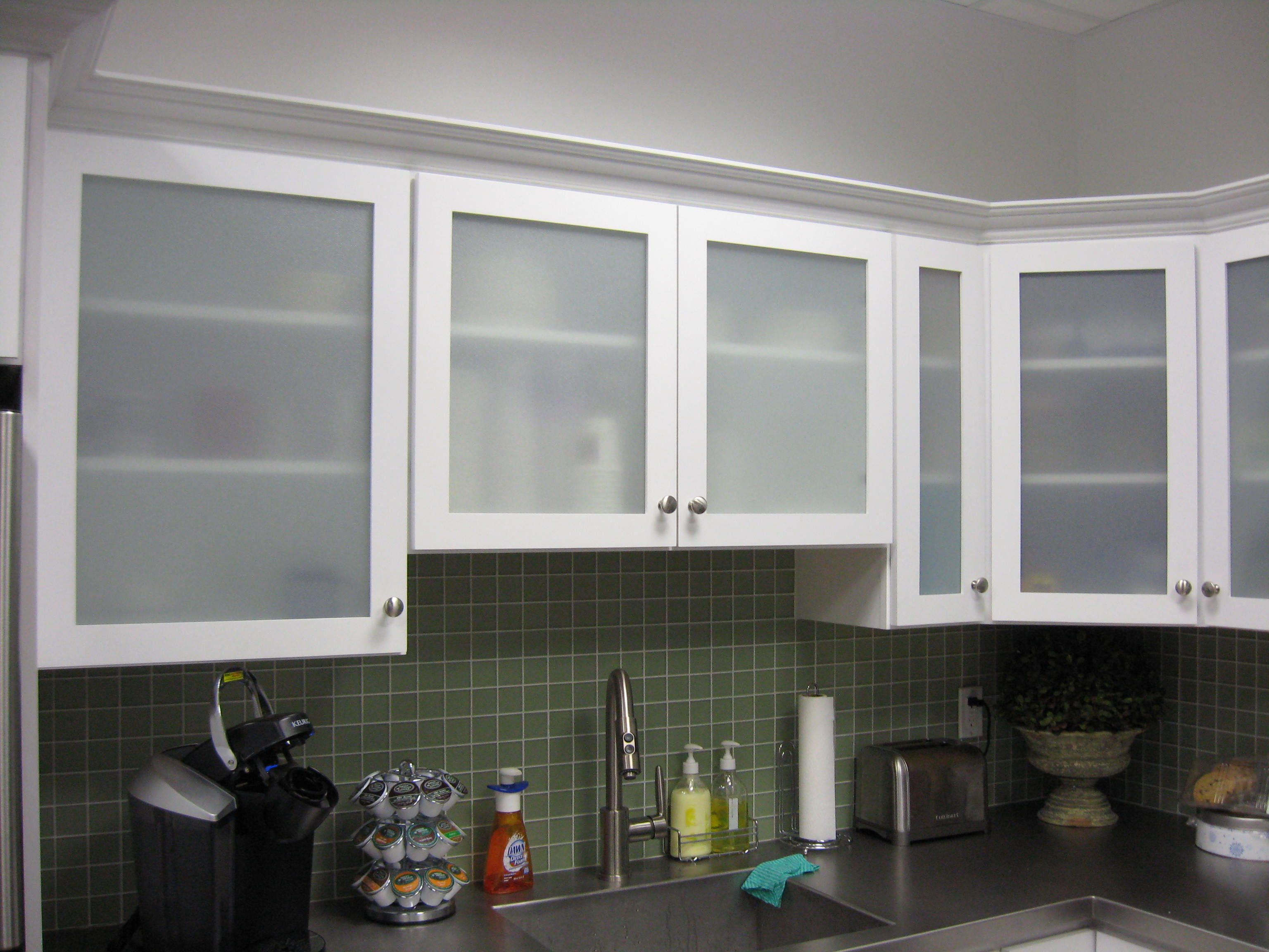 White kitchen cabinets with frosted glass doors shayla 39 s for Glass kitchen cabinet doors