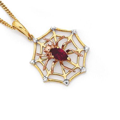 9ct Diamond Synthetic Ruby Spider Web Pendant Goldmark Australia