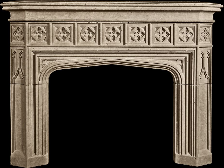 Trowbridge Mantel from Tartaruga Design Inc. -- cast stone -- Tudor Gothic Revival style with trefoiled spandrels and quatrefoil tracery