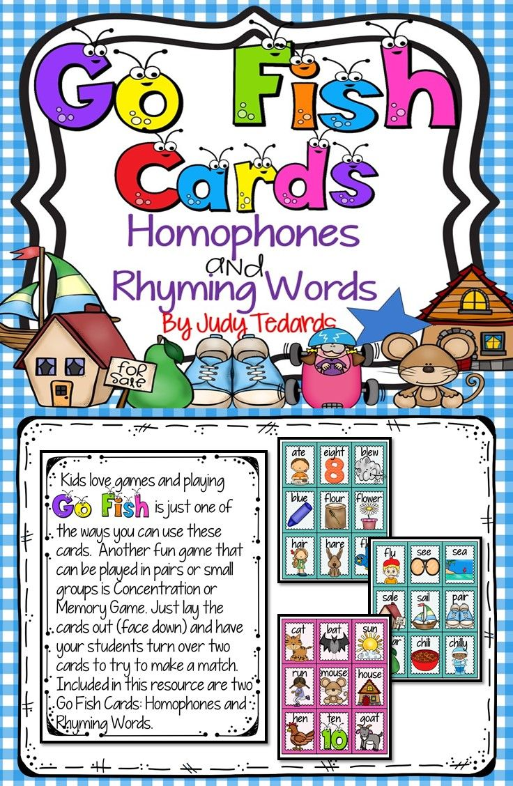 Go Fish Cards Homophones And Rhyming Words Fun Card Games Card Games Fishing Cards