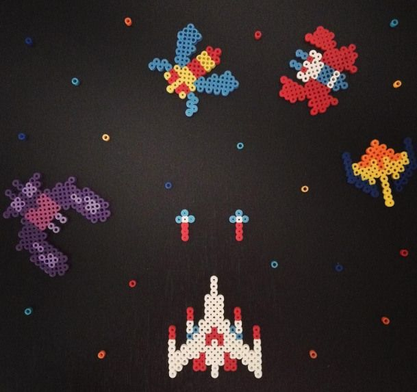 Galaga arcade game perler beads by leonelprez