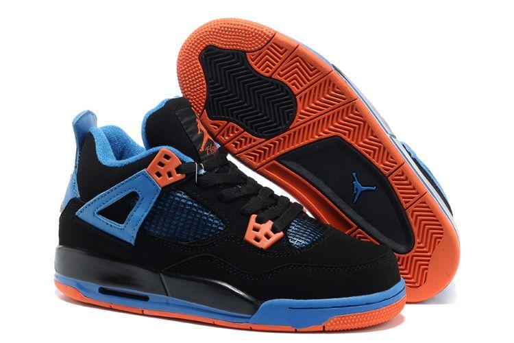 Air Jordan 4 Black Blue Orange Women Shoes Air Jordans Nike Kd Shoes Air Jordan Shoes
