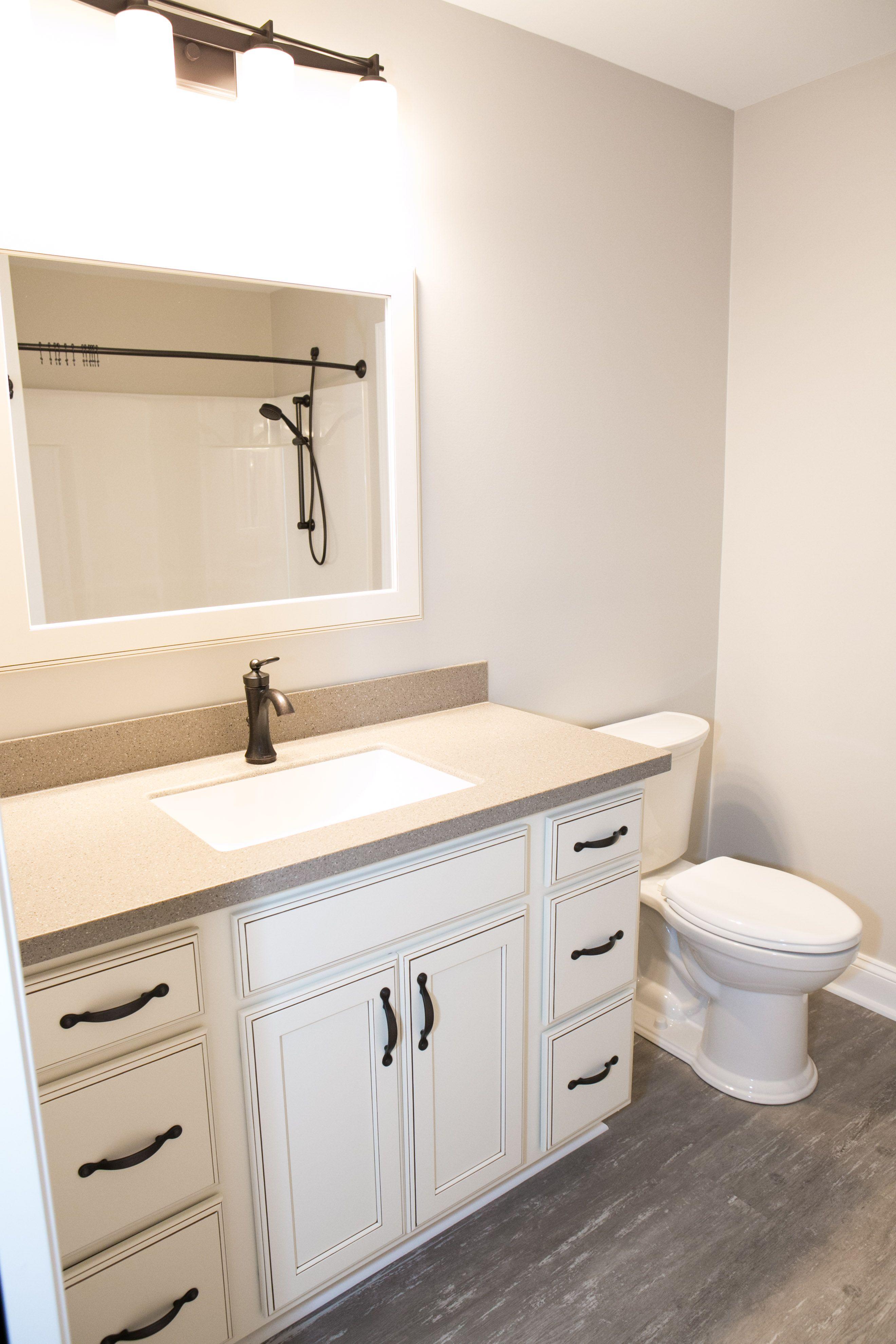 Bathroom vanity set-up using Yorktowne cabinetry in the Crowley door ...