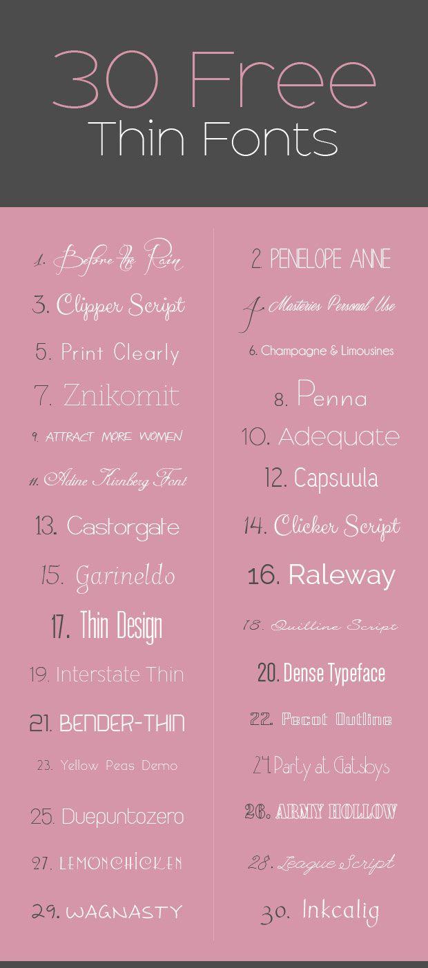 30 Free Thin Fonts u003eu003e Design Float