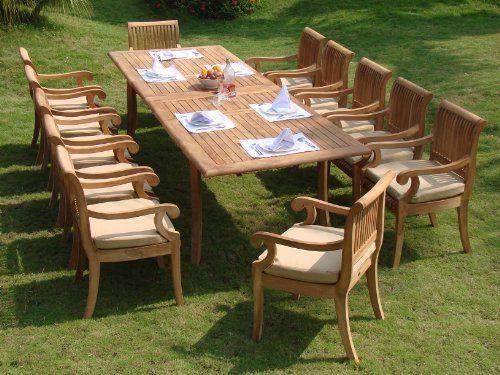 13 Pc Gradea Teak Wood Dining Set 117 Double Extension Rectangle Table 12 Giva Arm Teak Outdoor Furniture Patio Teak Garden Furniture Teak Outdoor Furniture