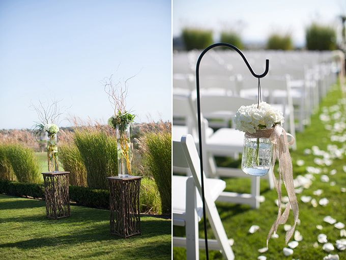 Mint Color Outdoor Ceremony Decorations: A Rustic Peach And Mint Wedding