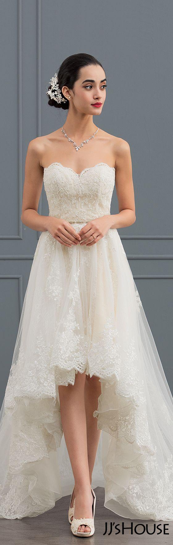 Alineprincess sweetheart asymmetrical tulle lace wedding dress