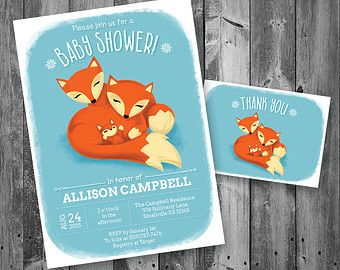 Fox Baby Shower Invitation With Thank You Card, Baby Shower With Fox Theme,  Fox