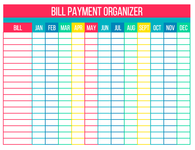 organize your bills with free printables