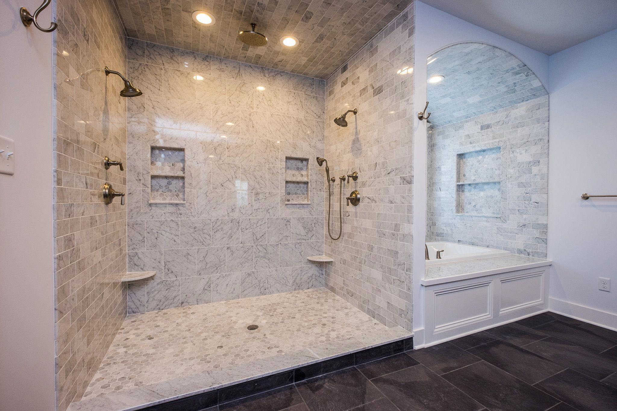 shower envy gorgeous white and grey tile master bath tile
