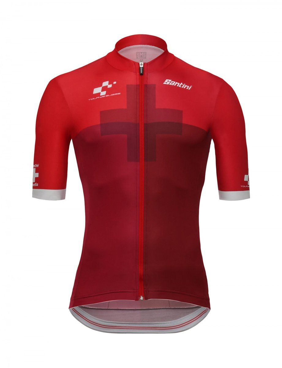2018 Tour De Suisse Cross Cycling Jersey In Red Made In Italy By