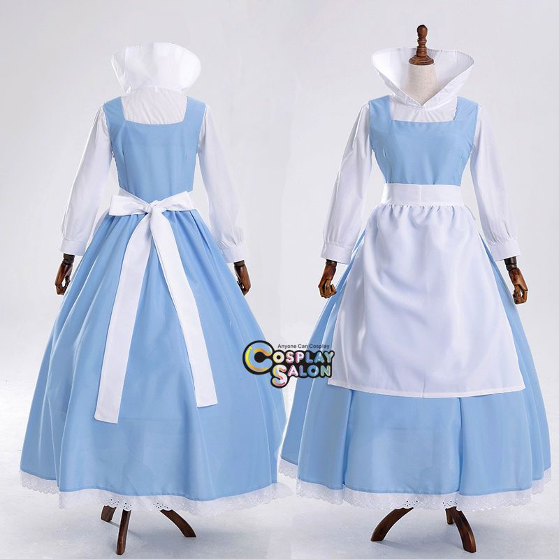 2017 New Princess Belle Halloween Cosplay Costume Beauty And the Beast Cartoon Game Clothes Long Maid Skirt Stage Dresses  sc 1 st  Pinterest & Anime For Belle Blue Mixed White Dress Apron Women Party Cosplay ...