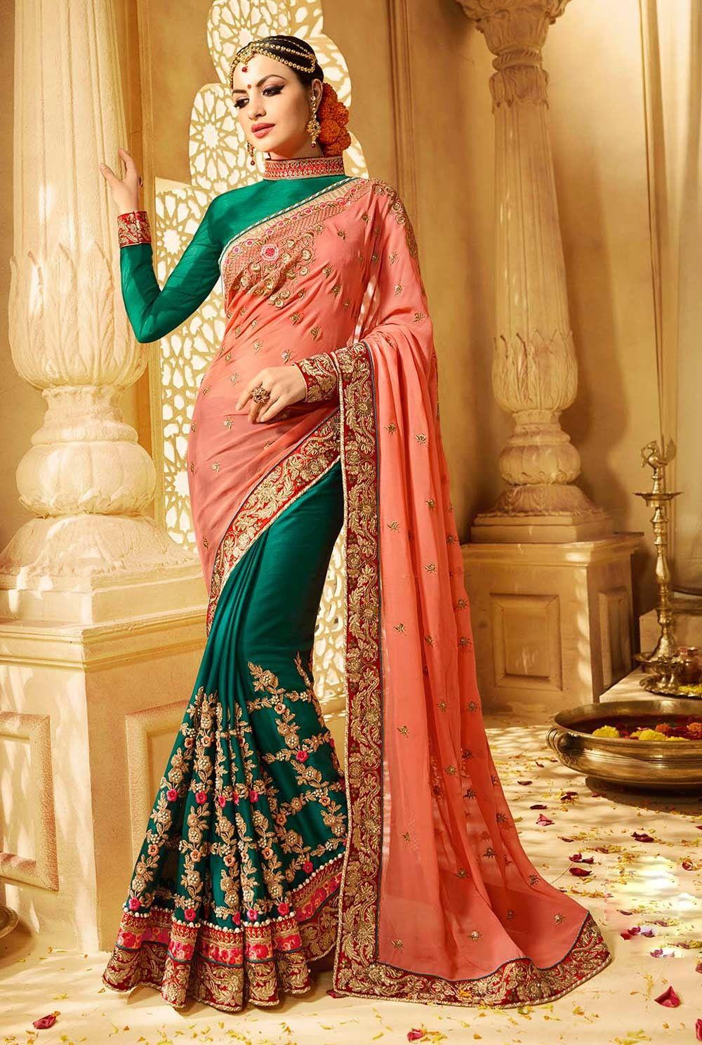 951345e0b4236 Green   Orange half half designer saree with full sleeves blouse F17080