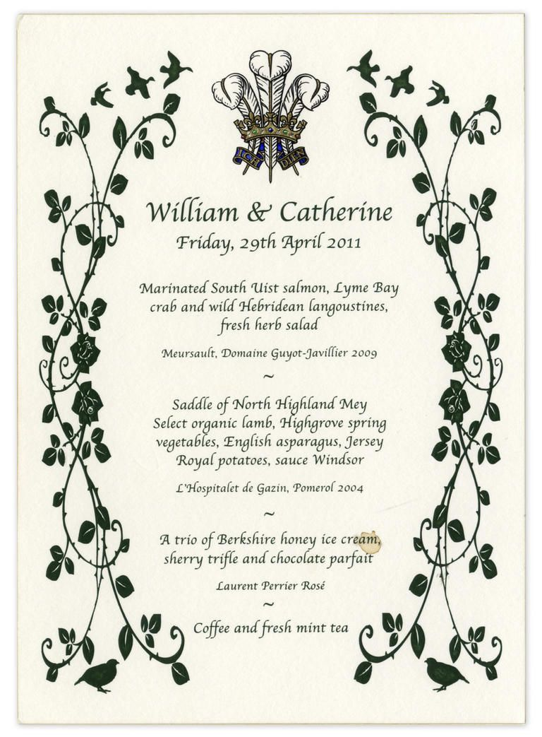 Prince William and Kate Middleton's Royal Wedding Menu ...