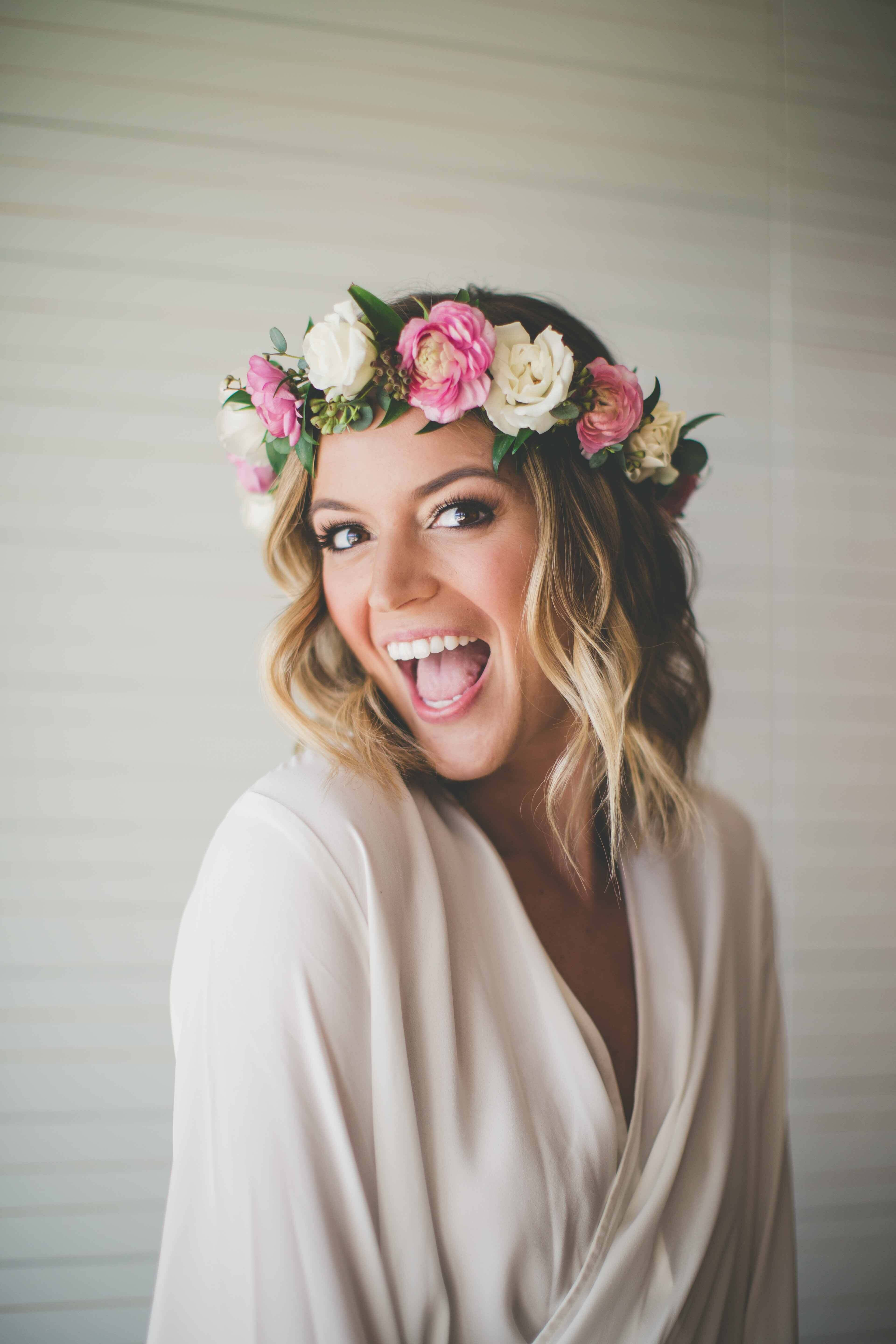 0e050b918c Hawaii bride with flower crown