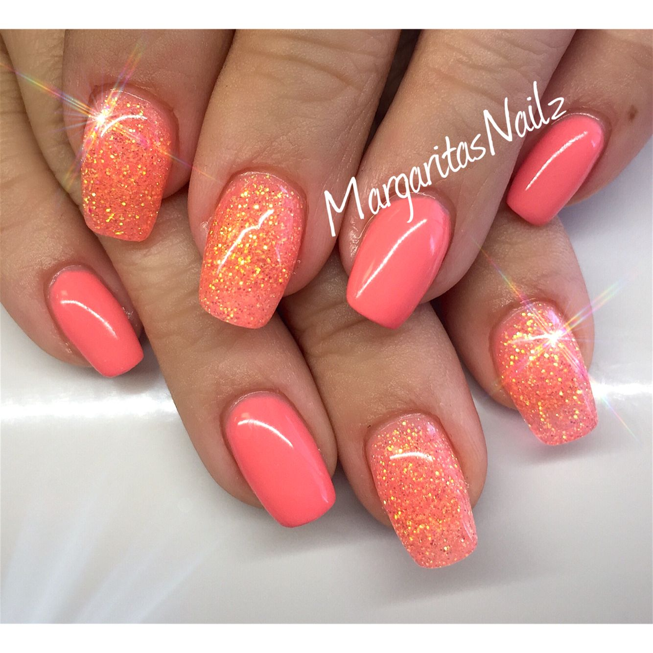 orange coral summer nails margaritasnailz