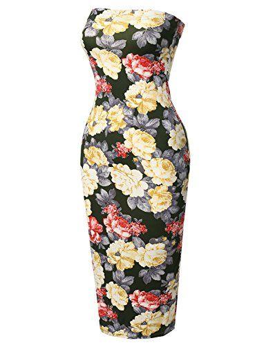5963498c17 Super Sexy Comfortable Floral Tube Top Bodycon Midi Dress ...