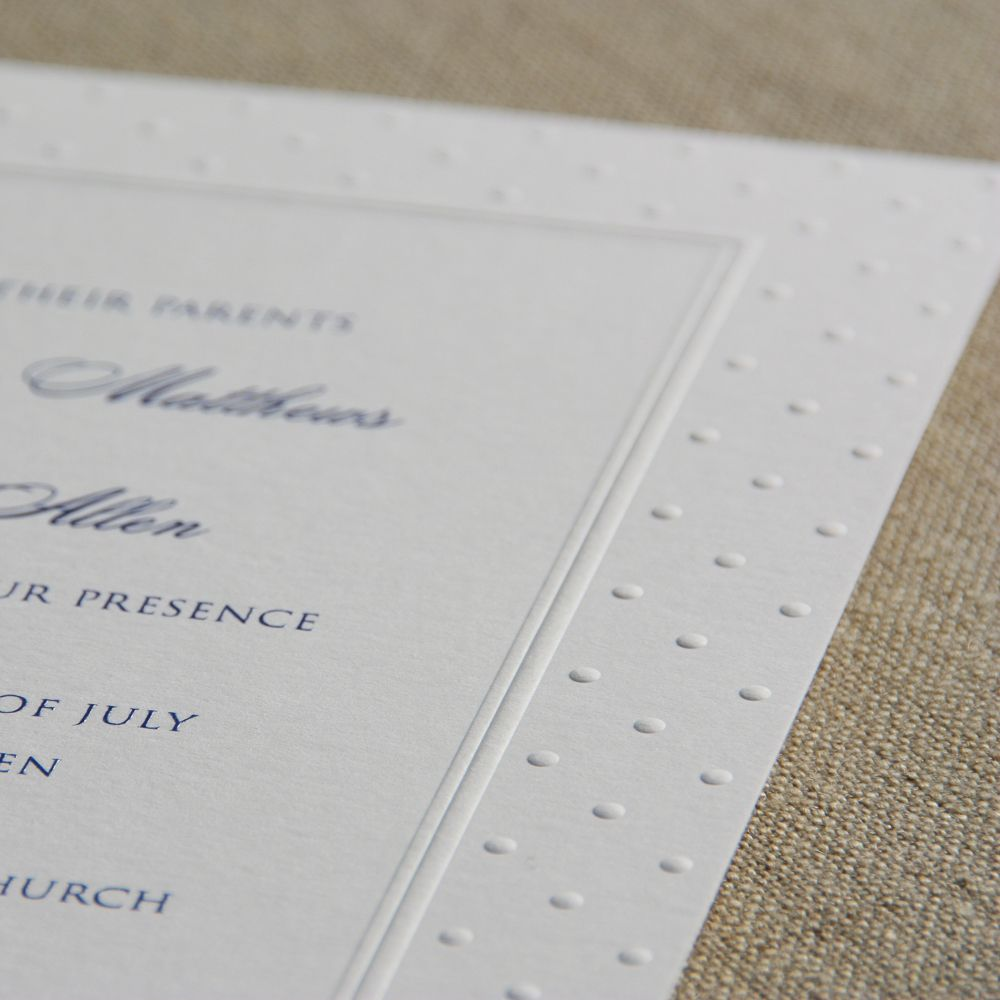 Embossed Swiss Dot Bright White Wedding Invitations A Wide Frame Subtly Accented With
