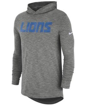 27746733650d Nike Men s Detroit Lions Dri-Fit Cotton Slub On-Field Hooded T-Shirt - Gray  M