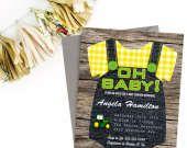 BABY SHOWER INVITATION FARMER/TRACTOR BABY SHOWER ONESIE PRINTABLE