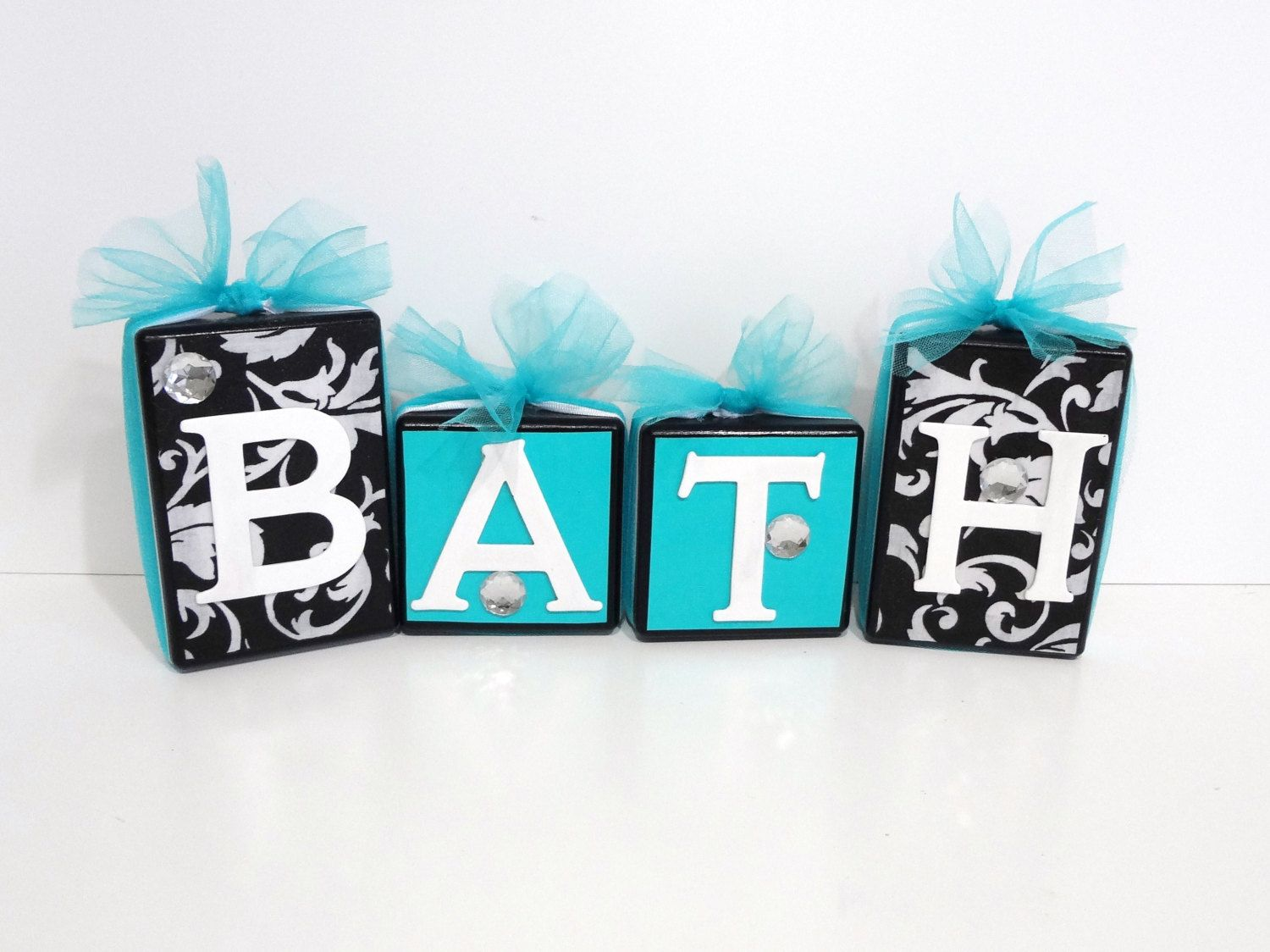 Home Decor Blocks BATH Black And White Damask With Aqua Accent   Ideas For  Towel Hooks