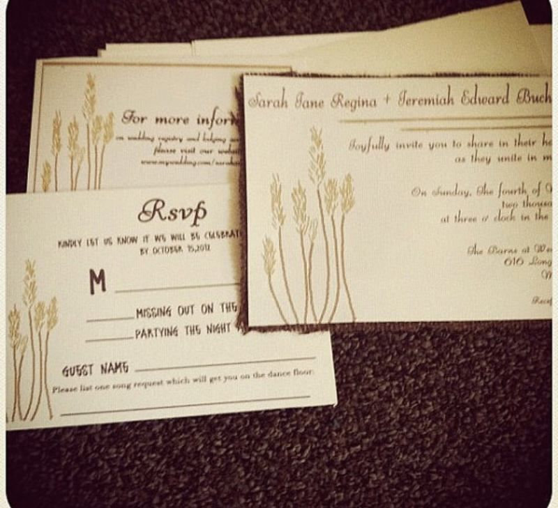 Rustic Wheat Wedding Invitation with burlap and envelopes See more ...