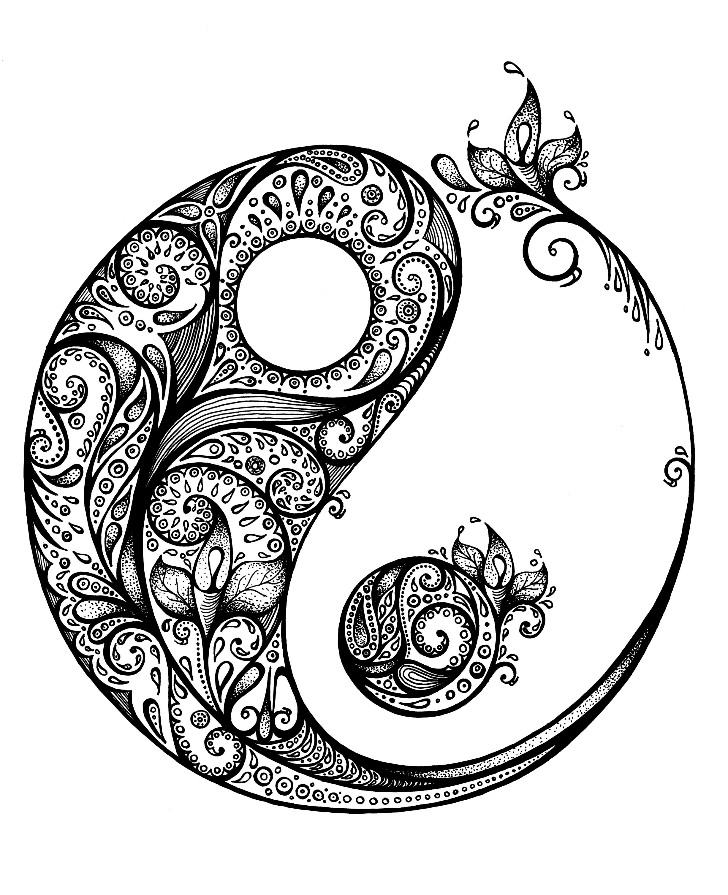 Yin yang zentangle zen tangle pinterest tatouages for Ying yang coloring pages