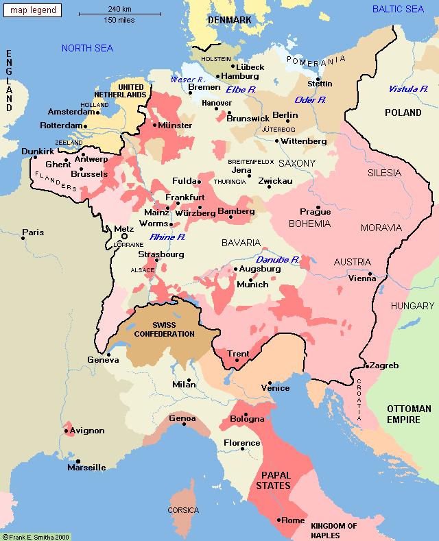 Central Europe, 1648 | maps | Mapa historico, Mapas, Europa