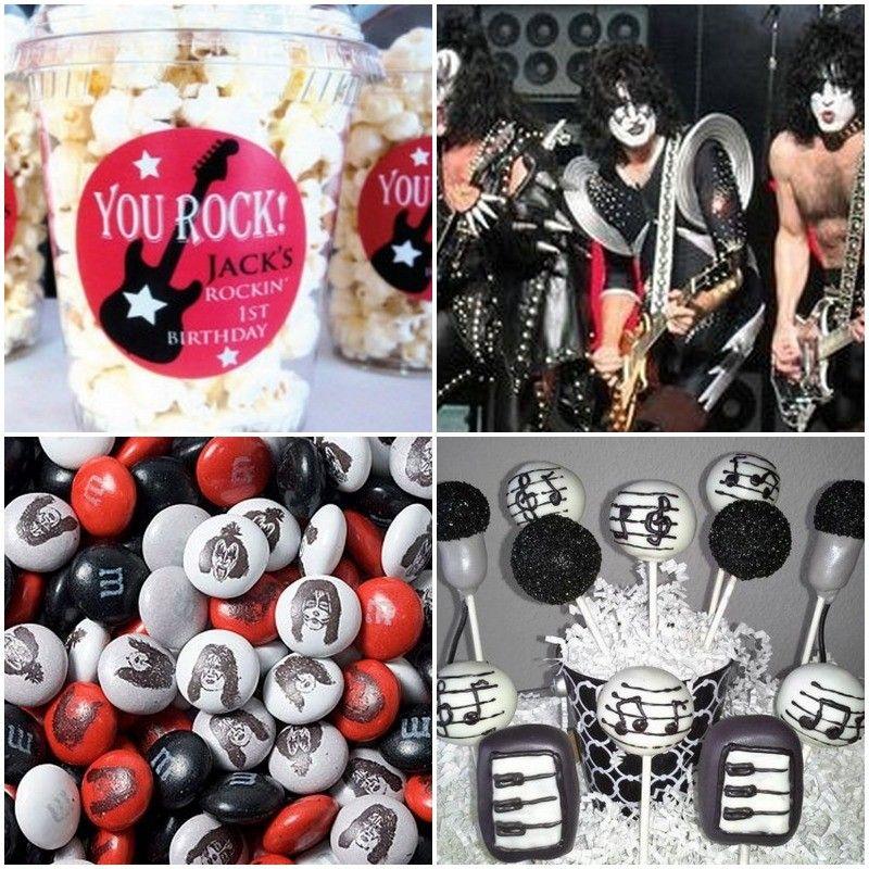Recuerdos para cumpleanos de kiss rock 15 pinterest for Decoracion de cumpleanos adultos
