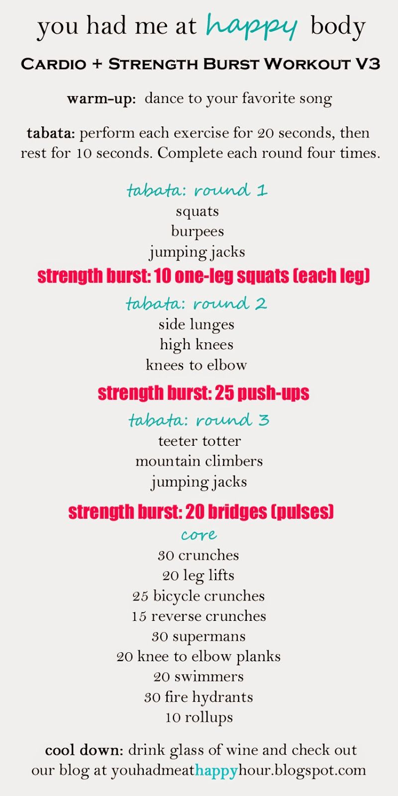 You Had Me at Happy Hour: Cardio + Strength Burst Workout Version 3. Great  tabata full-body workout!