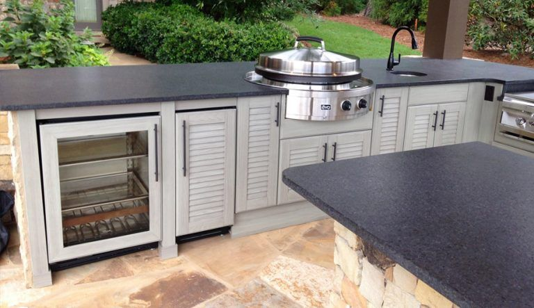 Complete Your Outdoor Space With Weatherproof Cabinets And A Free Grill Seigles Cabinet Center Outdoor Kitchen Cabinets Outdoor Cabinet Kitchen Design