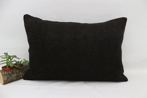 16x24 Ethnic Pillow,Hemp Pillow Covers, Home Decor Kilim Pillow, Black Pillow, Outdoor Pillow, Flat