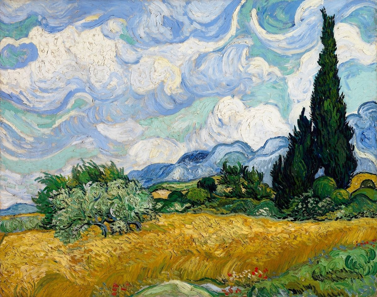 lonequixote:  Wheatfield with Cypress Tree ~ Vincent van Gogh