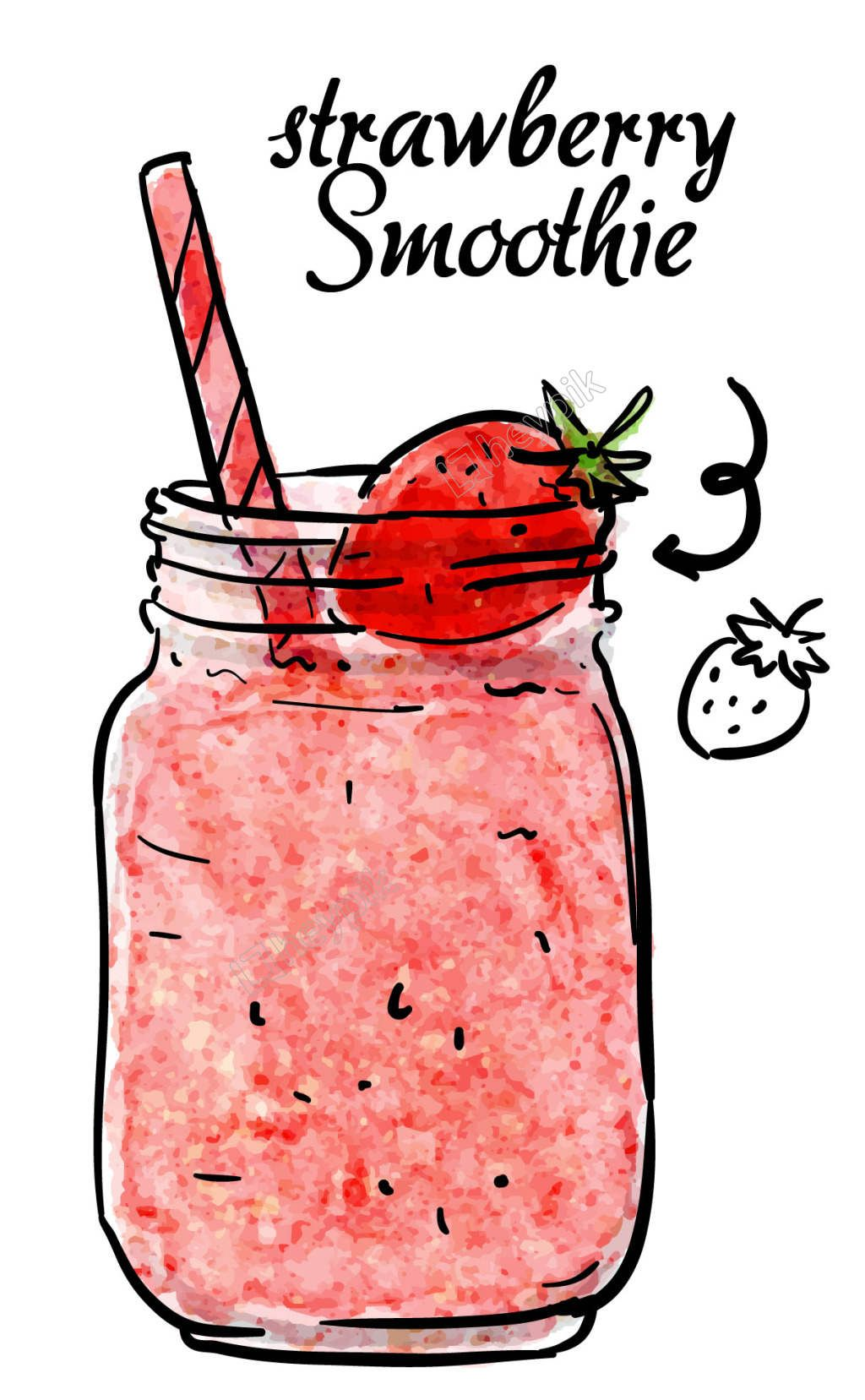 Hand Painted Strawberry Juice Element