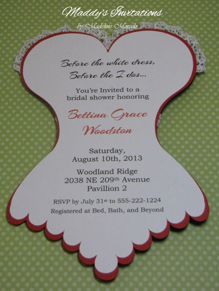 Corset Invitations Bridal Shower