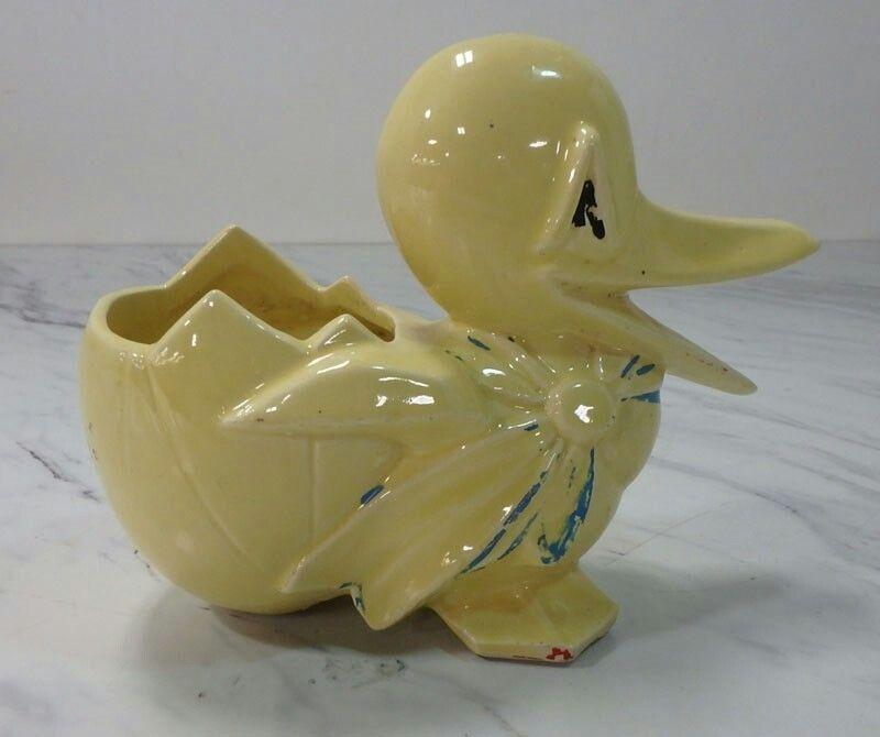Vintage Yellow Duck Planter
