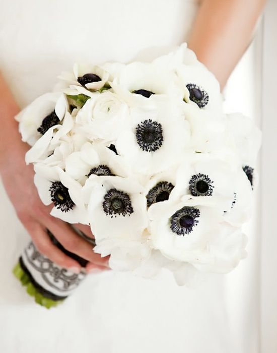 Pin By Exclusively Weddings On Black And White Wedding Ideas Inspiration White Wedding Bouquets All White Wedding White Anemone