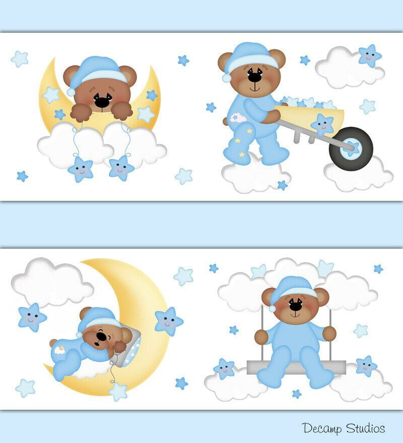 Teddy Bear Wallpaper Border Wall Decals Moon Star Cloud