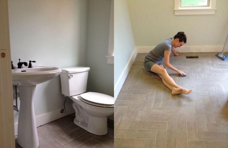 Herringbone Tile Flooring Half Bath And Mudroom Got A Fabulous - Faux Wood Tile Flooring WB Designs